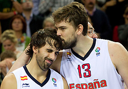 Victor Sada of Spain and Marc Gasol of Spain celebrate at medal ceremony after the final basketball game between National basketball teams of Spain and France at FIBA Europe Eurobasket Lithuania 2011, on September 18, 2011, in Arena Zalgirio, Kaunas, Lithuania. Spain defeated France 98-85 and became European Champion 2011, France placed second and Russia third. (Photo by Vid Ponikvar / Sportida)