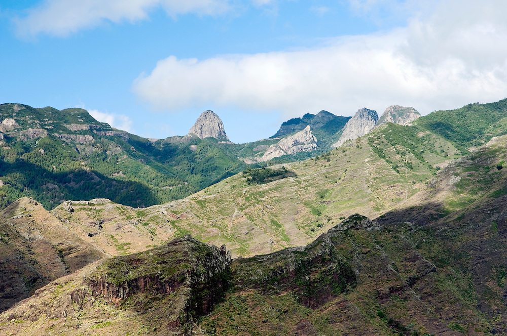 La Gomera, Canary Islands. Los Roques. West over head of the Barranca de Aguajilva to three volcanic plugs known as Los Roques