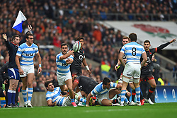 November 11, 2017 - London, United Kingdom - Argentina's Martin Landajo passes from the scrum during Old Mutual Wealth Series between England against Argentina at Twickenham stadium , London on 11 Nov 2017  (Credit Image: © Kieran Galvin/NurPhoto via ZUMA Press)