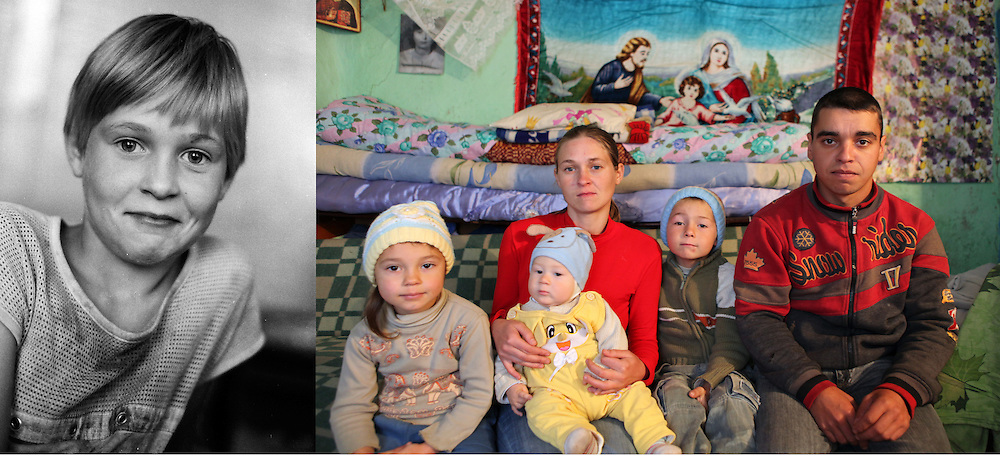Corina in 1997 at the orphanage when she was 11 and in October 2011 in her house in a village about 40 km from Iasi. She married a local guy and already have 3 children. They live in a tiny traditional house with limited facilities which belongs to their in-laws.