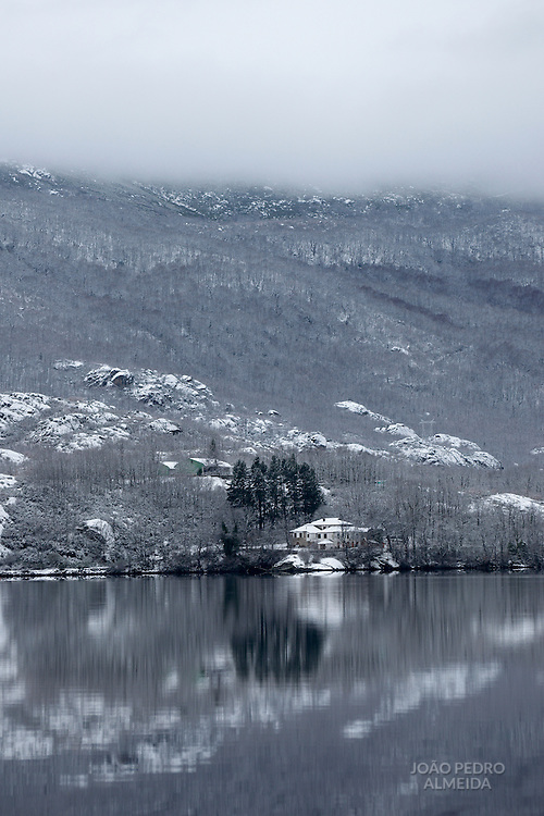 House near the Sanabria lake during Winter