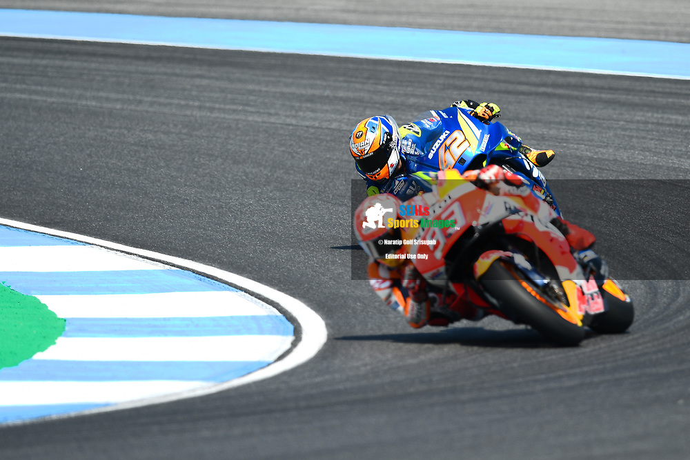 BURIRAM, THAILAND - OCTOBER 06: Marc Marquez (93) of Spain and Repsol Honda Team in Turn 3 during FP3 at the MotoGP PTT Thailand Grand Prix 2018, Chang International Circuit, Buriram, Thailand on October 06, 2018. <br /> .<br /> .<br /> .<br /> (Photo by: Naratip Golf Srisupab/SEALs Sports Images)<br /> .<br /> Any image use must include a mandatory credit line adjacent to the content which should read: Naratip Golf Srisupab/SEALs Sports Images
