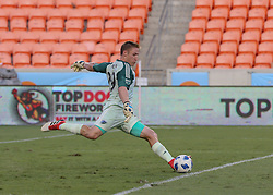 July 18, 2018 - Houston, TX, U.S. - HOUSTON, TX - JULY 18:  Sporting Kansas City goalkeeper Tim Melia (29) sends the ball into play during the US Open Cup Quarterfinal soccer match between Sporting KC and Houston Dynamo on July 18, 2018 at BBVA Compass Stadium in Houston, Texas. (Photo by Leslie Plaza Johnson/Icon Sportswire) (Credit Image: © Leslie Plaza Johnson/Icon SMI via ZUMA Press)