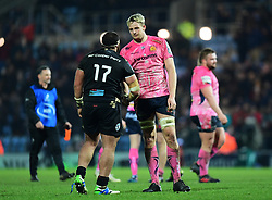 Jonny Hill of Exeter Chiefs shakes hands with Grégory Fichten of Montpellier - Mandatory by-line: Alex Davidson/JMP - 13/01/2018 - RUGBY - Sandy Park Stadium - Exeter, England - Exeter Chiefs v Montpellier - European Rugby Champions Cup