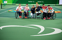 Second placed Gordon Reid and Alfie Hewett of UK, winners Stephane Houdet and Nicolas Peifer of France and third placed Satoshi Saida and Shingo Kunieda of Japan celebrate at Victory ceremony after theTennis Men's Doubles Gold Medal Match during Day 8 of the Rio 2016 Summer Paralympics Games on September 15, 2016 in Olympic Tennis Centre, Rio de Janeiro, Brazil. Photo by Vid Ponikvar / Sportida