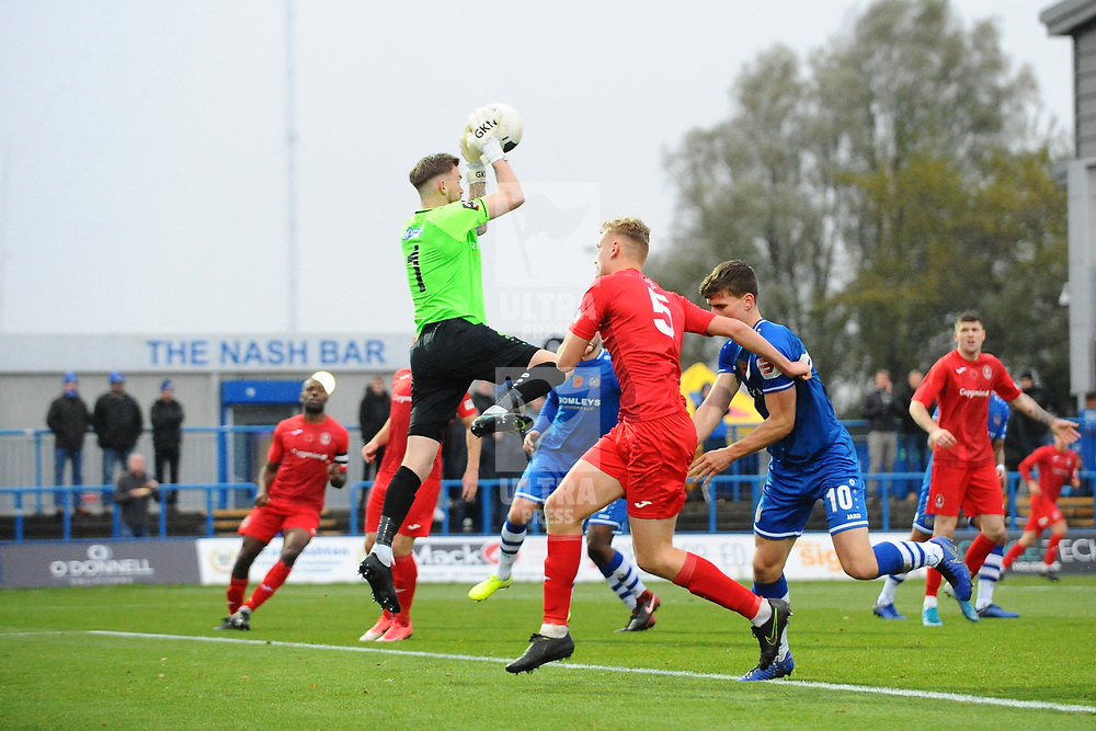 TELFORD COPYRIGHT MIKE SHERIDAN Cameron Mason of Curzon claims a cross from William Sass-Davies of Telford (on loan from Crewe Alexandra) during the Vanarama National League Conference North fixture between Curzon Asthon and AFC Telford United on Saturday, November 9, 2019.<br /> <br /> Picture credit: Mike Sheridan/Ultrapress<br /> <br /> MS201920-028