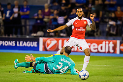 Theo Walcott #14 of Arsenal F.C. before scoring vs Eduardo Carvalho #24 of GNK Dinamo Zagreb during football match between GNK Dinamo Zagreb, CRO and Arsenal FC, ENG in Group F of Group Stage of UEFA Champions League 2015/16, on September 16, 2015 in Stadium Maksimir, Zagreb, Croatia. Photo by Ziga Zupan / Sportida