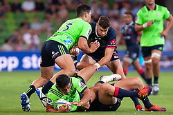 March 1, 2019 - Victoria, VIC, U.S. - MELBOURNE, AUSTRALIA - MARCH 01: Thomas Umaga-Jensen (13) of the Highlanders defends Josh Ioane (15) of the Highlanders at The Super Rugby match between Melbourne Rebels and Highlanders on March 01, 2019 at AAMI Park, VIC. (Photo by Speed Media/Icon Sportswire) (Credit Image: © Speed Media/Icon SMI via ZUMA Press)