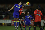AFC Wimbledon defender Will Nightingale (5) goes close during the EFL Trophy match between AFC Wimbledon and U23 Brighton and Hove Albion at the Cherry Red Records Stadium, Kingston, England on 6 December 2016. Photo by Stuart Butcher.