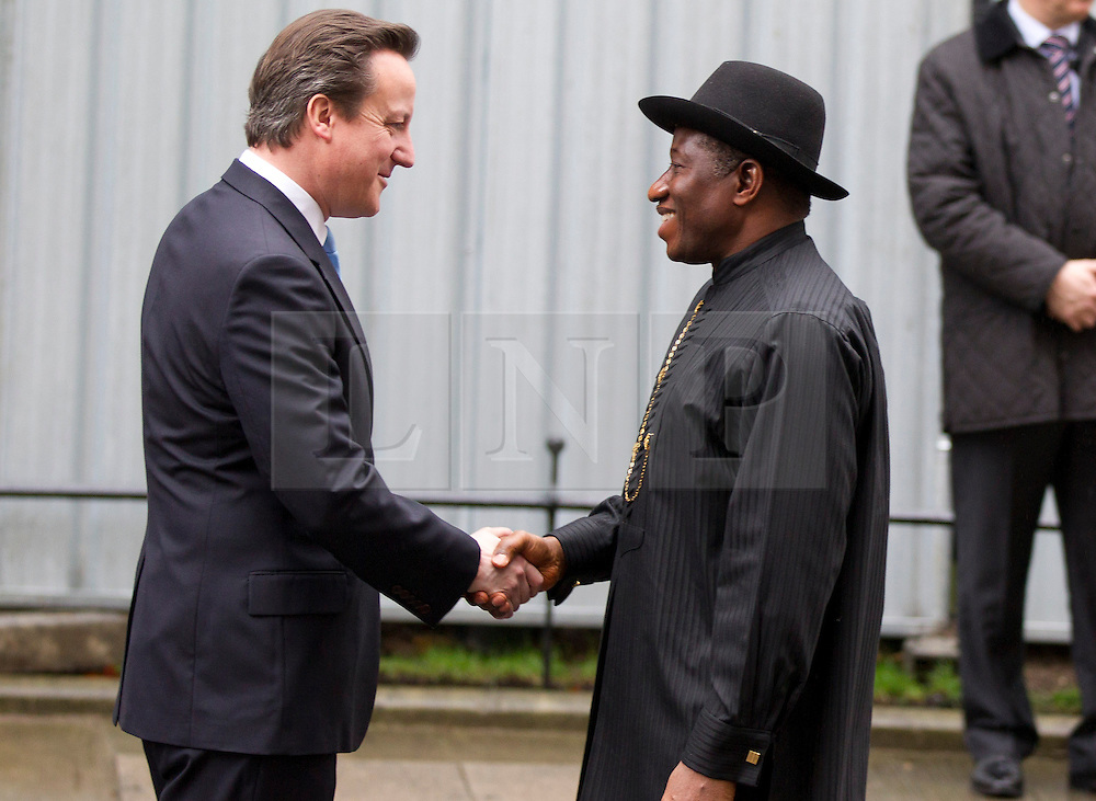 © Licensed to London News Pictures. 11/02/2013. London, UK. The British Prime Minister, David Cameron, meets with with the Nigerian President, Goodluck Jonathan, on Downing Street in London today (11/02/13). The Downing Street visit came during a trip to Europe where Mr Jonathan also met with French President Francois Hollande to discuss the ongoing deployment of Nigerian and ECOWAS troops to Mali in support of the current military action against insurgents. Photo credit: Matt Cetti-Roberts/LNP