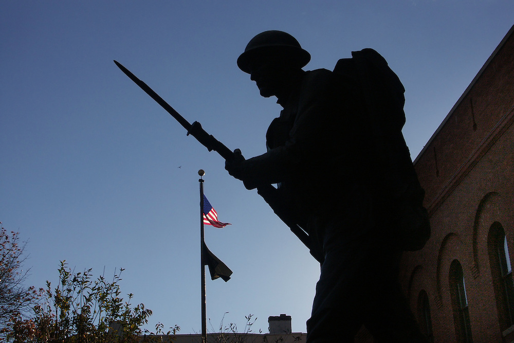 This is a world War I statue in front of the 14th street Armory in Brooklyn, NY. If you look close you can see what is probably a hawk just to the left of the top of the flag.