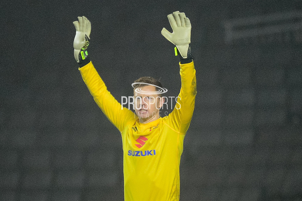 Milton Keynes Dons goalkeeper David Martin (1) with his hands in the air during the EFL Sky Bet League 1 match between Milton Keynes Dons and Swindon Town at stadium:mk, Milton Keynes, England on 30 December 2016. Photo by Dennis Goodwin.