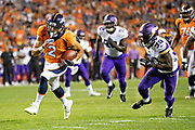 DENVER, CO - AUGUST 11:  Phillip Lindsay #2 of the Denver Broncos runs for a touchdown past Jack Tocho #39 of the Minnesota Vikings during week one of the preseason at Broncos Stadium at Mile High on August 11, 2018 in Denver, Colorado.  The Vikings defeated the Broncos 42-28.  (Photo by Wesley Hitt/Getty Images) *** Local Caption *** Phillip Lindsay; Jack Tocho