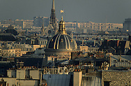 """France. Paris. elevated view. l'institut de France, the cathedral Notre dame, la Sainte chapelle. view from the """"gloriettes"""" of Orsay museum."""