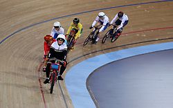 General view during the Women's Keirin Second Round during day three of the Tissot UCI Track Cycling World Cup at Lee Valley VeloPark, London.