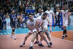 URMIA, June 17, 2019  Players of Iran celebrate scoring during the FIVB Volleyball Nations League match between Iran and Russia in Urmia, Iran, June 16, 2019. (Credit Image: © Ahmad Halabisaz/Xinhua via ZUMA Wire)