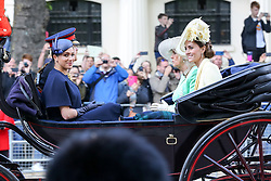 © Licensed to London News Pictures. 08/06/2019. London, UK. Meghan Duchess of Sussex, Prince Harry Duke of Sussex, Duchess of Cornwall and Catherine Duchess of Cambridge on their way to Buckingham Palace after attending the Trooping the Colour ceremony to marks the 93rd birthday of Queen Elizabeth II, Britain's longest reigning monarch. Photo credit: Dinendra Haria/LNP