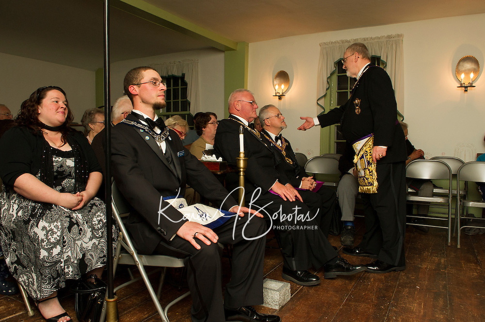 """203rd Anniversary Observance Doric-Centre Lodge at Lane Tavern in Sanbornton Square October 9, 2012.  Centre Lodge was founded in October of 1809 in Sanbornton Square and met there until 1840.  Mildred """"Milly"""" Shaw was presented with the Community Builder Award."""