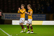 3rd November 2018, Fir Park, Motherwell, Scotland; Ladbrokes Premiership football, Motherwell versus Dundee; Chris Cadden and Danny Johnson of Motherwell applauds the fans at the end of the match