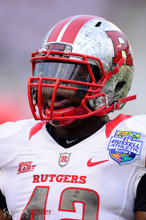 Rutgers Scarlet Knights linebacker Steve Beauharnais (42) during Rutgers 13-10 overtime loss to the Virginia Tech Hokies in the Russell Athletic Bowl on Dec 28, 2012 in Orlando, Florida. ..©2012 Scott A. Miller..