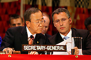 """Manhattan, New York, USA, 20090923:   The  UN REDD High Level meeting. REDD is an acronym for """"Reducing Emissions from Deforestation and Forest Degradation in Developing Countries"""".<br /> <br /> United Nations Secretary General Ban Ki- Moon and Norwegian Prime Minister Jens Stoltenberg.<br /> <br /> Photo: Orjan F. Ellingvag/ www.camera-eye.com"""