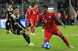 02.10.2018, CL, Champions League, FC Bayern Muenchen vs Ajax Amsterdam, Allianz Arena  Muenchen, im Bild:...Noussair Mazraoui ( Ajax Amsterdam) vs David Alaba (FCB)..DFL REGULATIONS PROHIBIT ANY USE OF PHOTOGRAPHS AS IMAGE SEQUENCES AND / OR QUASI VIDEO...Copyright: Philippe Ruiz..Tel: 089 745 82 22.Handy: 0177 29 39 408.e-Mail: philippe_ruiz@gmx.de. (Credit Image: © Philippe Ruiz/Xinhua via ZUMA Wire)