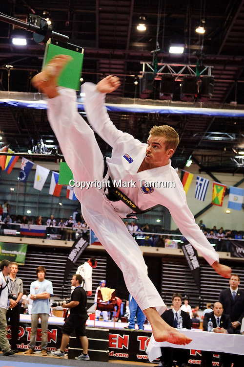 Reining overall World Champ Carl Van Roon competing in the Specialty Event. International Taekwon-Do World Championships 2011. TSB Arena, Wellington, New Zealand.<br /> <br /> Photo: Mark Tantrum/photosport.co.nz