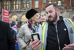 © Licensed to London News Pictures. 07/01/2019. London, UK. Conservative MP and Remain campaigner ANNA SOUBRY is heckled by a group of Brexit supporters, including JAMES GODDARD (right) as she returns to the Houses of Parliament in London after appearing on broadcast television programs on College Green, Westminster. Photo credit:  George Cracknell/LNP