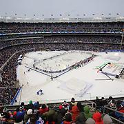 A panoramic view of Yankee Stadium during the New York Rangers Vs New Jersey Devils NHL regular season game held outdoors at Yankee Stadium, The Bronx, New York, USA. 26th January 2014. Photo Tim Clayton