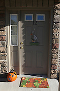 USA, New York Suburban house Halloween decorations