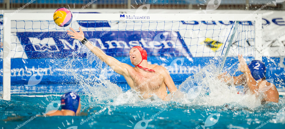 1 Nagy Viktor HUN<br /> Spain (White) Vs Hungary (Blue)<br /> LEN European Water Polo Championships 2014<br /> Alfred Hajos -Tamas Szechy Swimming Complex<br /> Margitsziget - Margaret Island<br /> Day01 - July 14 <br /> Photo Giorgio Scala/Inside/Deepbluemedia