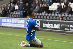 Rangers Alfredo Morelos with coin thrown at him at his knees  during the Ladbrokes Scottish Premier League match at St Mirren Park, St Mirren.
