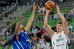 Egidijus Mockevicius of Lithuania during basketball match between National teams of Lithuania and France in Final match of U20 Men European Championship Slovenia 2012, on July 22, 2012 in SRC Stozice, Ljubljana, Slovenia. Lithuania defeated France 50:49. (Photo by Matic Klansek Velej / Sportida.com)