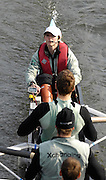 London, GREAT BRITAIN. Newly promoted, Cambridge, cox, Rebecca DOWBIGGIN, pilots the Cambridge Blue Boat, through the Surrey Arch of  Chiswick Bridge, as the crew move down to the start, to compete in the 2007  Head of the River race on Sat 31.03.2007, Putney, [Photo Peter Spurrier/Intersport Images] , Rowing Course: River Thames, Championship course, Putney to Mortlake 4.25 Miles,