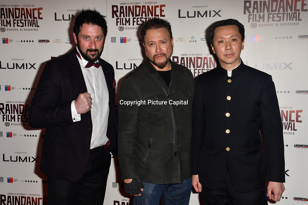 Mark Strange, Carlos Gallardo and Chee Keong attends the Raindance Opening Gala 2018 held at Vue West End, Leicester Square on September 26, 2018 in London, England.
