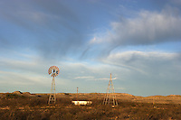 Windmills and sky, Terrell County, West Texas