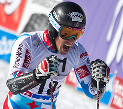 26.10.2014, Rettenbachferner, Soelden, AUT, FIS Weltcup, Ski Alpin, Riesenslalom, Herren, 2. Durchgang, im Bild Victor Muffat-Jeandet (FRA) // Victor Muffat-Jeandet of France reacts after his 2nd run of mens Giant Slalom of the FIS Ski Alpine Worldcup opening at the Rettenbachferner in Soelden, Austria on 2012/10/26. EXPA Pictures © 2014, PhotoCredit: EXPA/ Johann Groder