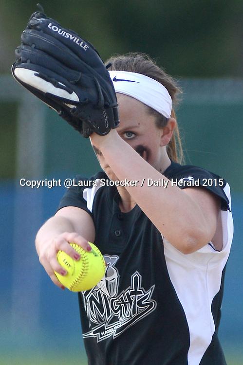 Laura Stoecker/lstoecker@dailyherald.com<br /> Kaneland pitcher Courtney Davis in the third inning vs. West Aurora in the Fox Valley softball tournament in Aurora Friday.