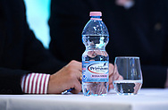 """Warsaw, Poland - 2017 April 19: Primavera - bottle of water while press conference during official visit of International Tennis Federation (ITF) at """"Orzel"""" Tennis Club  on April 19, 2017 in Warsaw, Poland.<br /> <br /> Mandatory credit:<br /> Photo by © Adam Nurkiewicz / Mediasport<br /> <br /> Adam Nurkiewicz declares that he has no rights to the image of people at the photographs of his authorship.<br /> <br /> Picture also available in RAW (NEF) or TIFF format on special request.<br /> <br /> Any editorial, commercial or promotional use requires written permission from the author of image."""