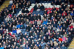 Away fans, first half. <br /> Raith Rovers 2 v 2 Falkirk, Scottish Championship game played 23/4/2016 at Stark's Park.