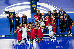 Players of Portugal celebrate win after futsal match between Portugal and Spain in Final match of UEFA Futsal EURO 2018, on February 10, 2018 in Arena Stozice, Ljubljana, Slovenia. Photo by Urban Urbanc / Sportida