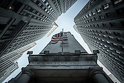 The staff entrance of the NYSE - New York Stock Exchange - is squeezed between Wall Street and New Street.