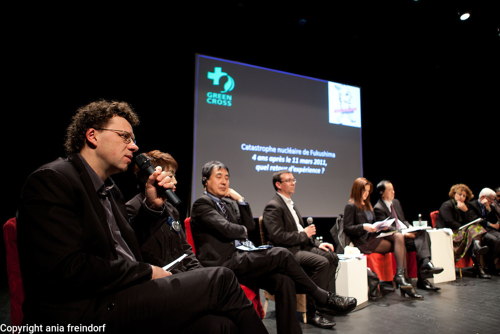 """Conference """"Fukushima, nuclear accident - four years later"""", Green Cross Paris, France, (left) Yves Marigniac, Director of WISE, Yoshiko Aoki, victim of the Fukushima accident, Tetsunari Lida, Director of ISEP, Nicolas Imbert, Director Green Cross FRance, former Member of European Parlament, Naoto Kan former Prime Minister of Japan, he resigned six months after the Fukushima nuclear accident."""