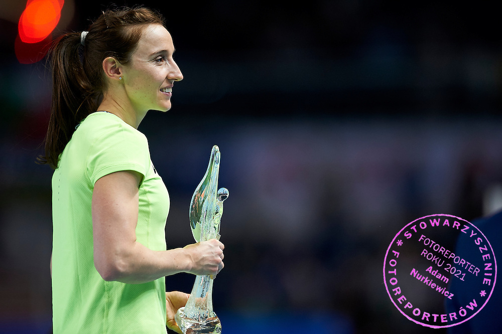 Torun, Poland - 2017 February 10: Nicole Buchler from Switzerland smiles and holds the trophy in women&rsquo;s pole vault while Copernicus Cup 2017 at the Sports and Entertainment Arena on February 10, 2017 in Torun, Poland.<br /> <br /> Mandatory credit:<br /> Photo by &copy; Adam Nurkiewicz / Mediasport<br /> <br /> Adam Nurkiewicz declares that he has no rights to the image of people at the photographs of his authorship.<br /> <br /> Picture also available in RAW (NEF) or TIFF format on special request.<br /> <br /> Any editorial, commercial or promotional use requires written permission from the author of image.<br /> <br /> Image can be used in the press when the method of use and the signature does not hurt people on the picture.