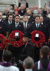 (c) London News Pictures. 14/11/2010.  HRH The Queen leading Remembrance Sunday service at the Cenotaph in London today (Sun) in front of Ed Milliband and Nick Clegg, in honour of those who have died in wars and conflicts. Picture credit should read: Will Oliver/London News Pictures