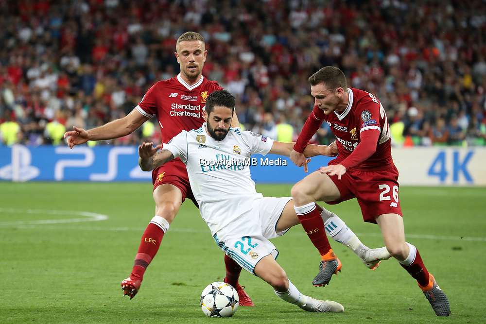 KIEV, UKRAINE - MAY 26: Jordan Henderson of Liverpool and Andy Robertson of Liverpool competes with Isco of Real Madrid during the UEFA Champions League final between Real Madrid and Liverpool at NSC Olimpiyskiy Stadium on May 26, 2018 in Kiev, Ukraine. (MB Media)