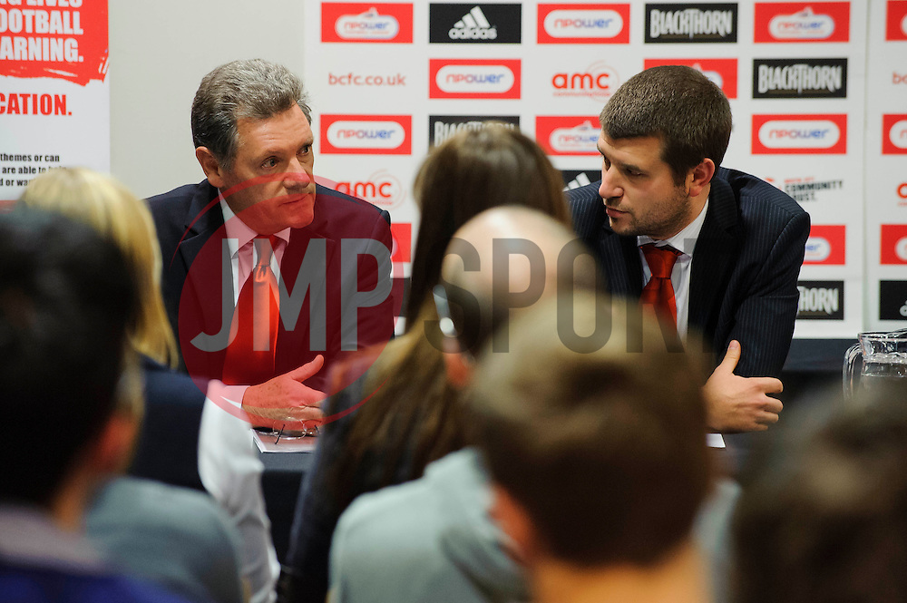 Bristol City Director Doug Harman and Football Managing Director Jon Lansdown face questions from fans during the clubs Annual Supporters Meeting held in the AMC Communications Lounge - Photo mandatory by-line: Rogan Thomson/JMP - Tel: Mobile: 07966 386802 06/12/2012 - SPORT - FOOTBALL - Ashton Gate - Bristol - Club AGM.