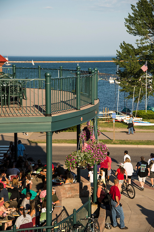 Downtown Marquette, Michigan in summer.