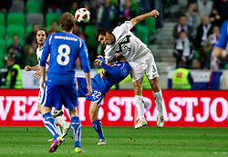 Giuseppe Rossi of Italy vs Sinisa Andzelkovic of Slovenia during EURO 2012 Quaifications game between National teams of Slovenia and Italy, on March 25, 2011, SRC Stozice, Ljubljana, Slovenia. Italy defeated Slovenia 1-0.  (Photo by Vid Ponikvar / Sportida)