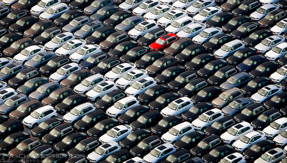 An aerial view of BMW cars at Southampton docks after import from Germany.